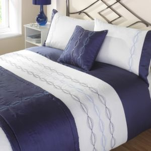View Iowa Dark Blue & White Striped Kingsize Bed Cover Set details