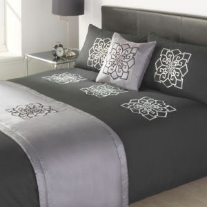 View Odessa Dark Grey & Silver Contemporary Kingsize Bed Cover Set details