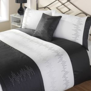 View Panache Black & White Striped Kingsize Bed Cover Set details