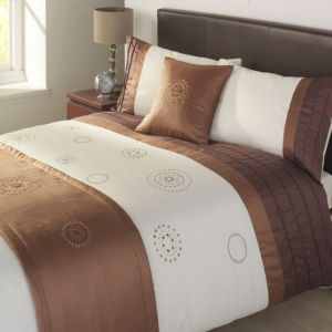 View Rio Mocha & White Striped Kingsize Bed Cover Set details