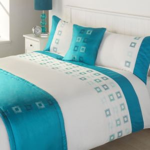 View Vienna Turquoise & White Striped Kingsize Bed Cover Set details