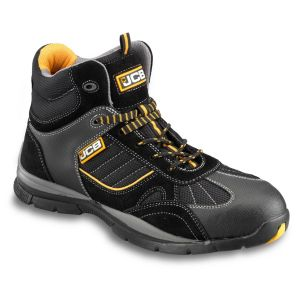 JCB Black Suede Leather & Mesh Steel Toe Cap Rock Hiker Boots  Size 10