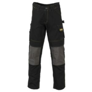View JCB Cheadle Pro Black Polyester & Cotton Canvas Work Trousers W32