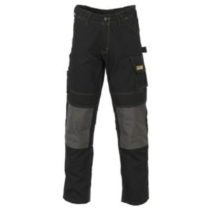 View JCB Cheadle Pro Black Polyester & Cotton Canvas Work Trousers W34