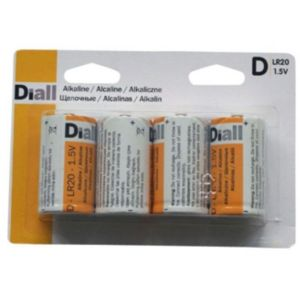 View Diall Single Use D Alkaline Batteries Pack of 4 details