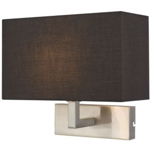 View Wollstone Fabric Shade Black Wall Light details