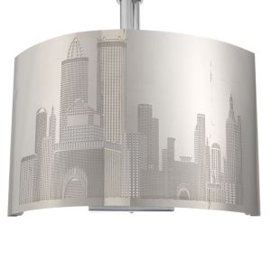 View New York Skyline Stainless Steel Effect Single Wall Light details