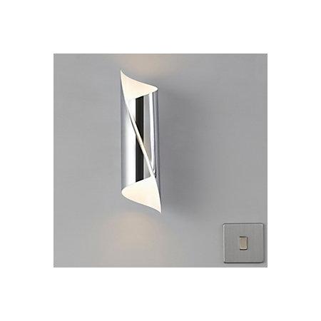 Zodia cut tube chrome effect single wall light for B q bedroom lighting