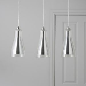 View Guardi Glass Droplet Chrome Effect 3 Lamp Pendant Ceiling Light details
