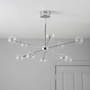View Frater Chrome Effect 10 Lamp Pendant Ceiling Light details