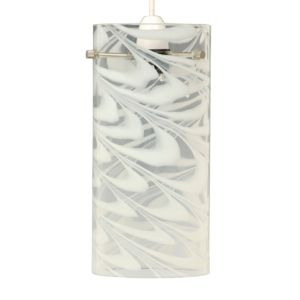 View Helix Lighting Swirl White Chrome Effect Cylinder Light Shade (D)26cm details