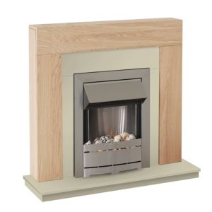View Blyss Ferndown LED Display Electric Fire Suite, Brushed Stainless Steel Effect details