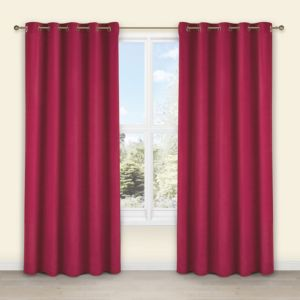 View Theleme Strawberry Plain Velvet Eyelet Curtains (W)167cm (L)228cm details