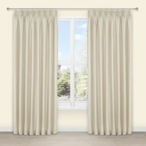 View Villula Ecru Plain Faux Silk Pencil Pleat Curtains (W)117cm x (L)137cm details