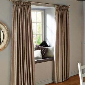 View Villula Steel Grey Plain Faux Silk Pencil Pleat Curtains (W)228cm x (L)228cm details