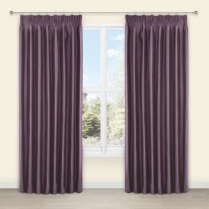 View Villula Blueberry Plain Faux Silk Pencil Pleat Curtains (W)167cm (L)228cm details