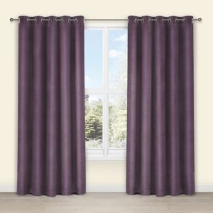 View Theleme Blueberry Plain Velvet Eyelet Curtains (W)167cm x (L)183cm details