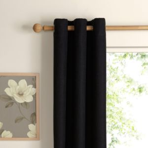 View Carina Charcoal Plain Woven Eyelet Curtains (W)228cm x (L)228cm details