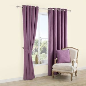 View Carina Blueberry & Purple Plain Woven Eyelet Curtains (W)167cm x (L)228cm details