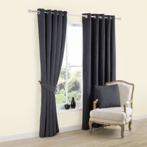 View Carina Charcoal Plain Woven Eyelet Curtains (W)167cm x (L)228cm details