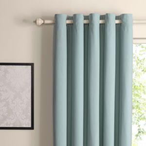 View Zen Duck Egg Plain Eyelet Curtains (W)228cm x (L)228cm details