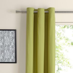 View Zen Lime Plain Eyelet Curtains (W)167cm (L)228cm details