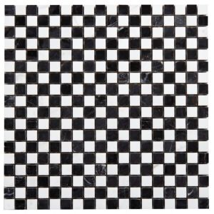View Polished Marble Black & White Marble Mosaic Tile, (L)300mm (W)300mm details