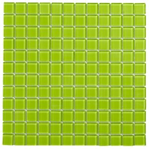 View Lime Glass Mosaic Tile, (L)300mm (W)300mm details