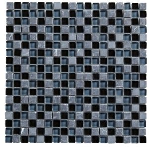 View Black & Grey Mosaic Tile, (L)300mm (W)300mm details