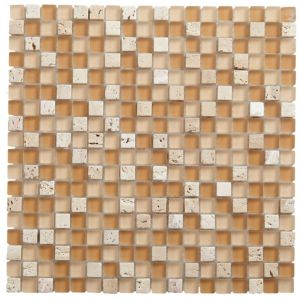 View Natural Mosaic Glass & Marble Mosaic Tile, (L)300mm (W)300mm details