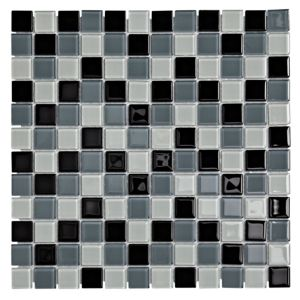 View Multi Glass Black Glass Mosaic Tile, (L)300mm (W)300mm details