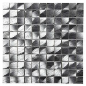 View Silver Brushed Aluminium Mosaic Tile, (L)300mm (W)300mm details