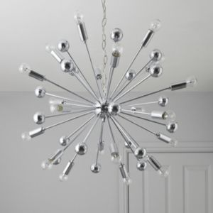 View Komet Spherule Chrome Effect 20 Lamp Pendant Ceiling Light details