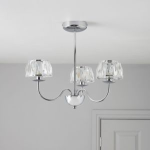 View Waldor Faceted Glass Chrome Effect 3 Lamp Pendant Ceiling Light details