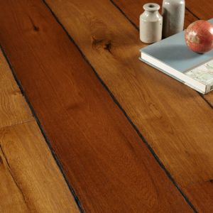 View Colours Jazzy Rustic Smoked Oak Long Plank Real Wood Top Layer Flooring 1.44 m² Pack details