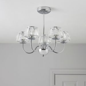 View Waldor Faceted Glass Chrome Effect 5 Lamp Ceiling Light details