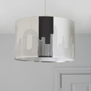 View New York Cut Out Chrome Effect Pendant Ceiling Light details