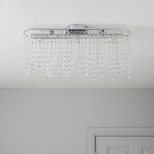 View Ignacy Crystal Bead Chrome Effect 3 Lamp Ceiling Light details