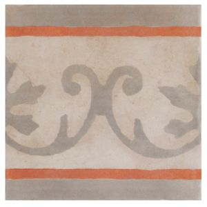View Colours 1930S Cream & Red Mosaic Porcelain Wall & Floor Tile, Pack of 4 (L)200mm (W)200mm details