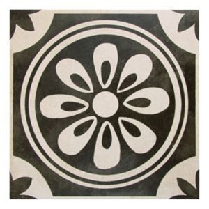 View Versaille Black Glazed Porcelain Wall & Floor Tile, Pack of 25, (L)200mm (W)200mm details