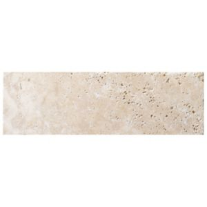View Tumbled Light Beige Travertine Wall Tile, Pack of 15, (L)305mm (W)100mm details