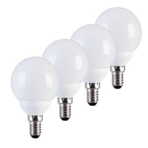 View Diall Small Edison Screw (E14) 9W Fluorescent Golf Ball Light Bulb, Pack of 4 details
