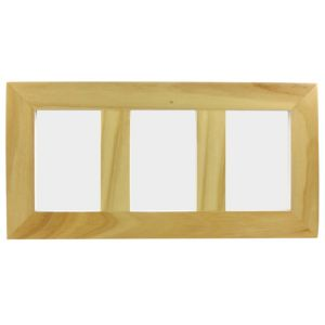 View Pink Wood 3 Aperture Picture Frame (H) 43cm x (W)22cm details