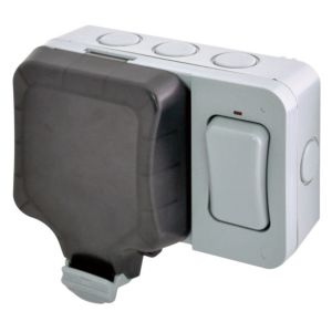 Image of Diall 13A Grey Double External Switched Socket