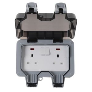 View Diall Grey Switched Double Rocker Outdoor Socket details