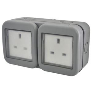 View Diall Grey Unswitched Double Outdoor Socket details