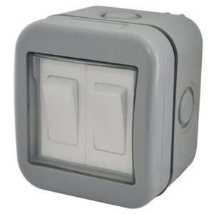View Diall Raised Profile Nickel Effect Rocker Double Outdoor Switch 2-Gang 2-Way 10A details
