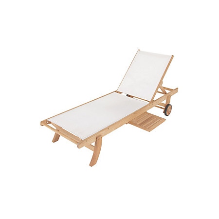 0 00   0 00. Roscana Wooden Sunlounger with Side Tray   Departments   DIY at B Q