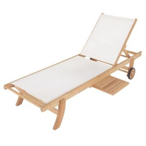 View Roscana Wooden Sunlounger with Side Tray details
