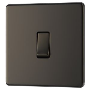 View Colours 1-Gang 2-Way 10AX Black Nickel Effect Single Light Switch details